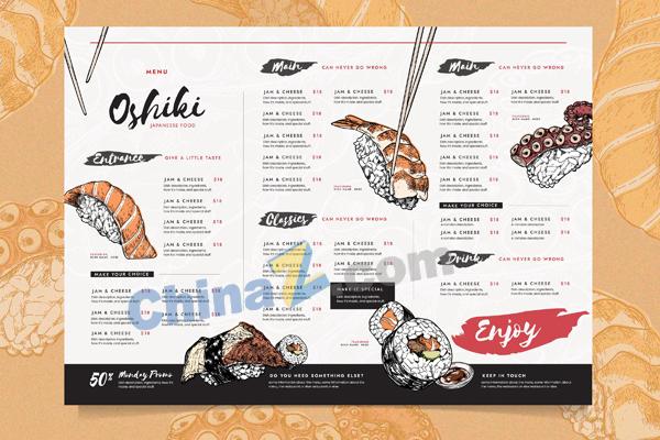 多样化餐厅菜单模板
