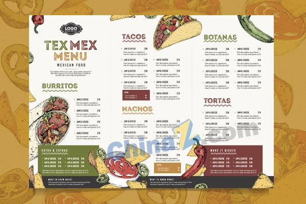 现代餐厅菜单模板矢量