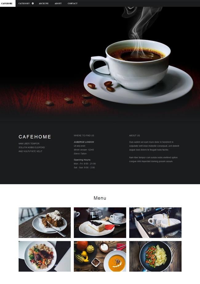 咖啡西点美食企业网站模板_免费模板