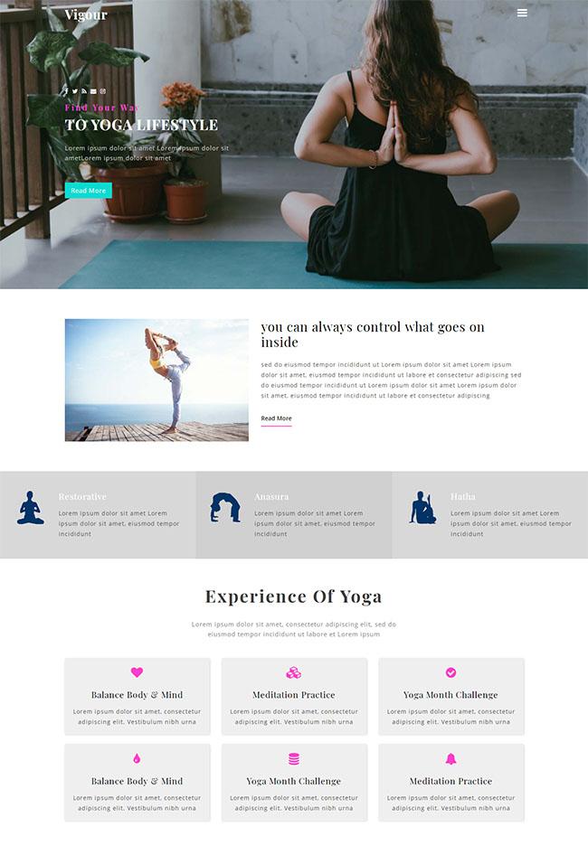 瑜伽训练爱好者网站模板