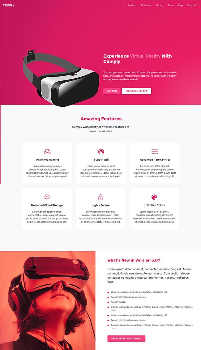 VR产品官网响应式网站模板