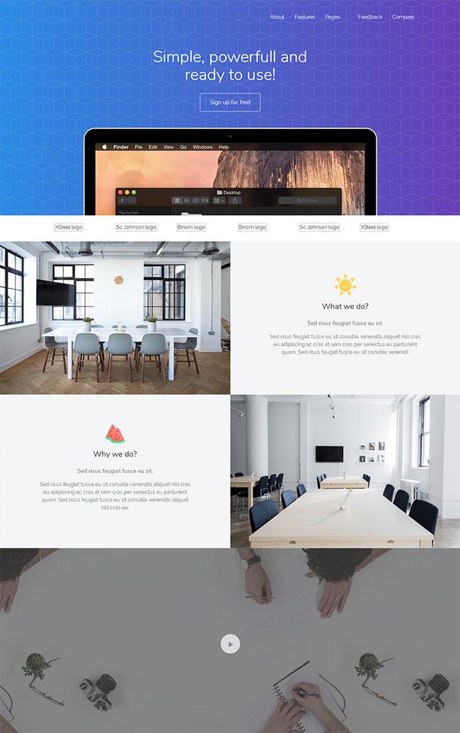 紫色渐变软件开发公司网页模板
