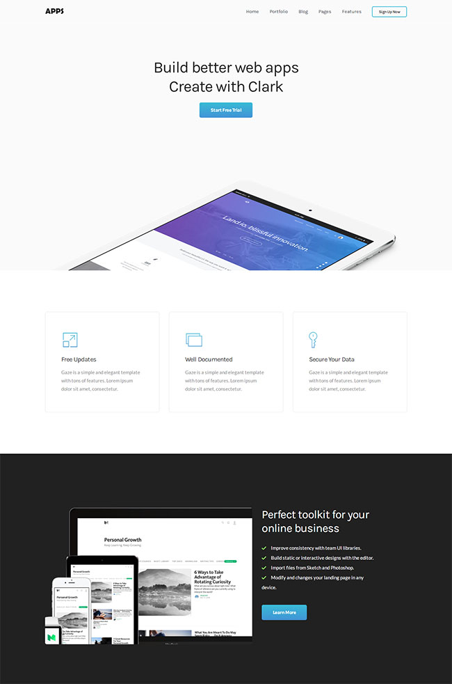 蓝色单页着陆页HTML5模板