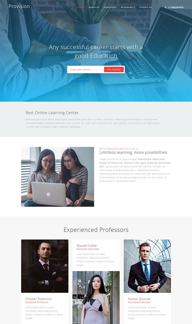 蓝色成人教育HTML5网站模板