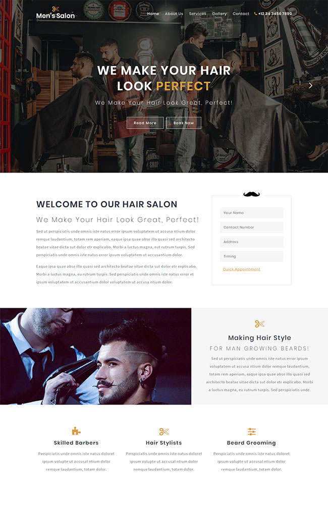 专业理发店加盟网站模板