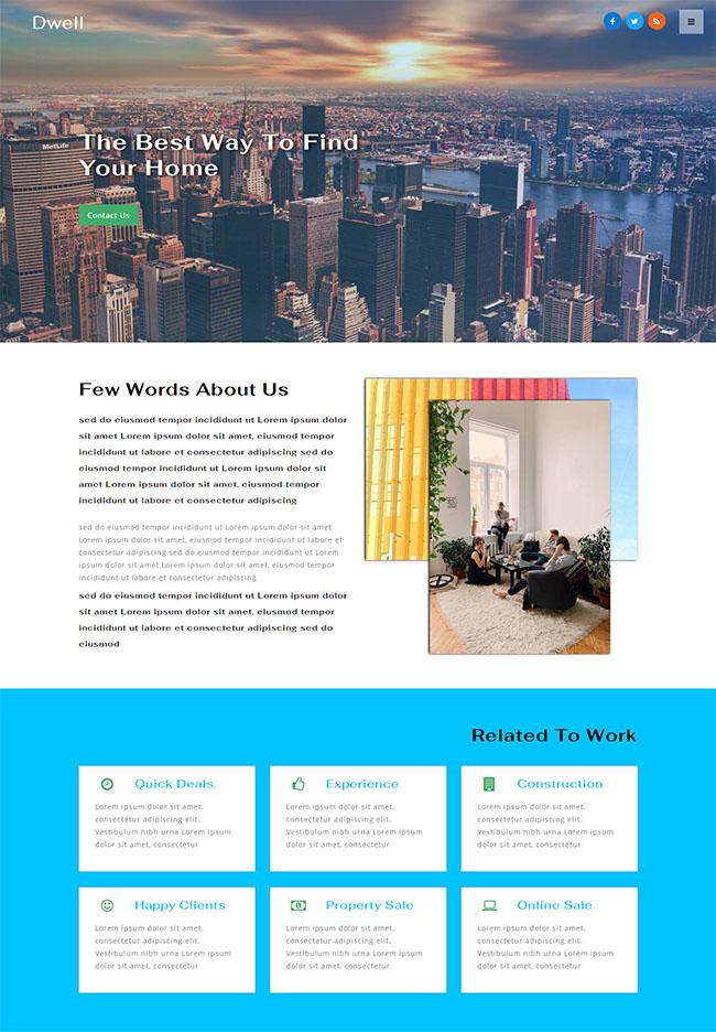 宽屏外墙装修网站模板