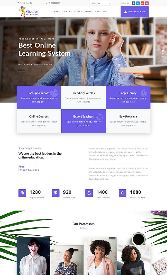 紫色英语在线教育网站模板