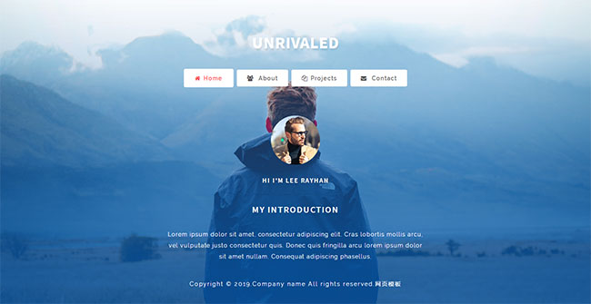 小屏个人介绍主页网站模板