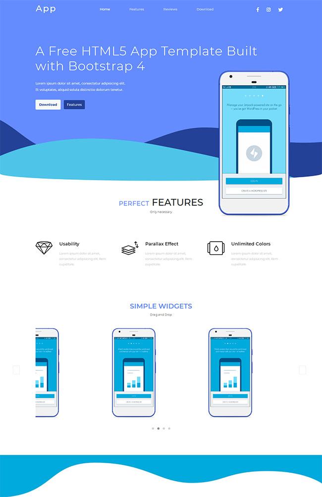 Bootstrap4手机APP网站模板