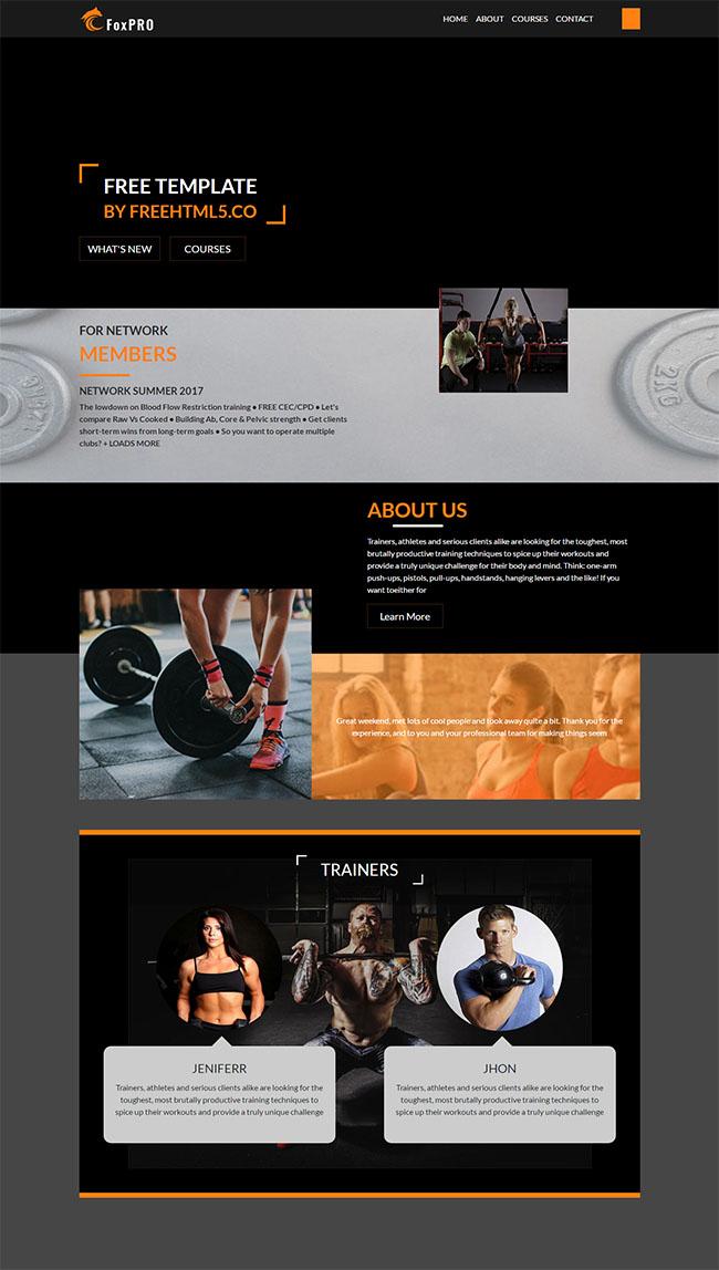 黑色酷炫健身运动CSS3模板