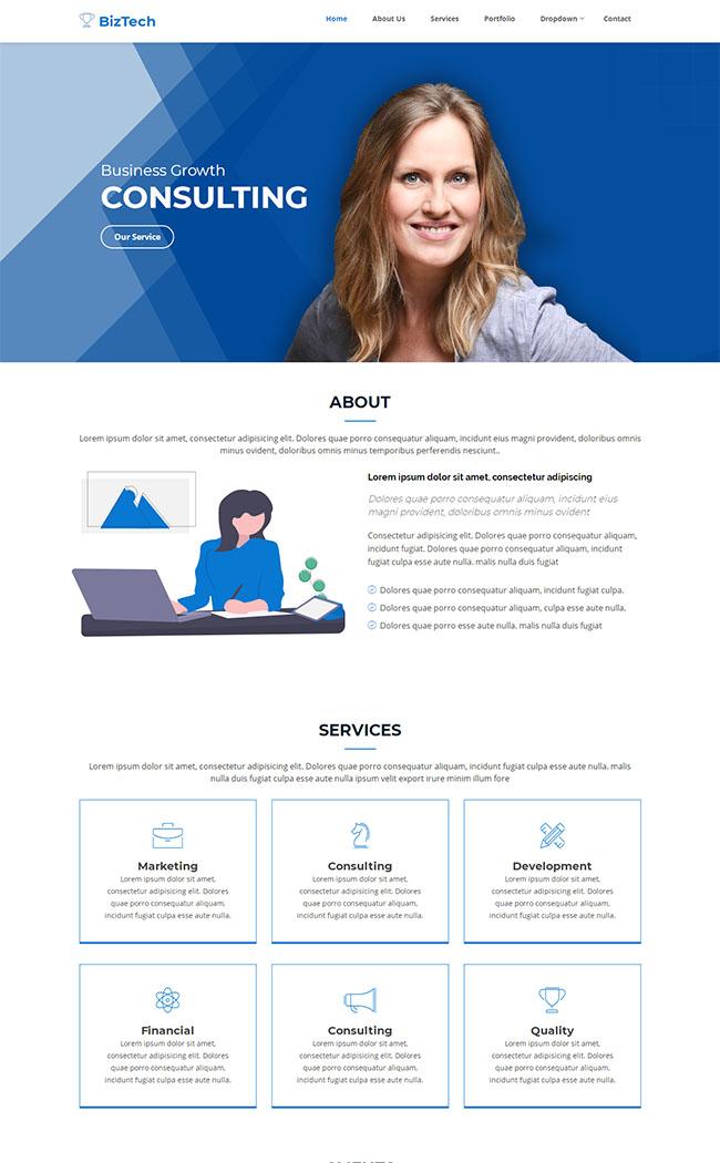 蓝色业务拓展公司网站模板