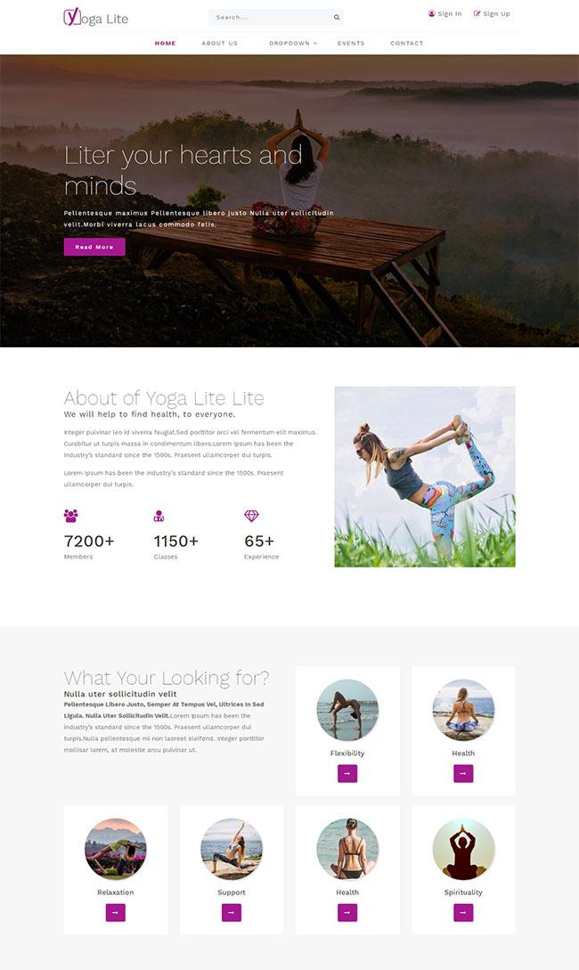 女性瑜伽健身HTML5模板