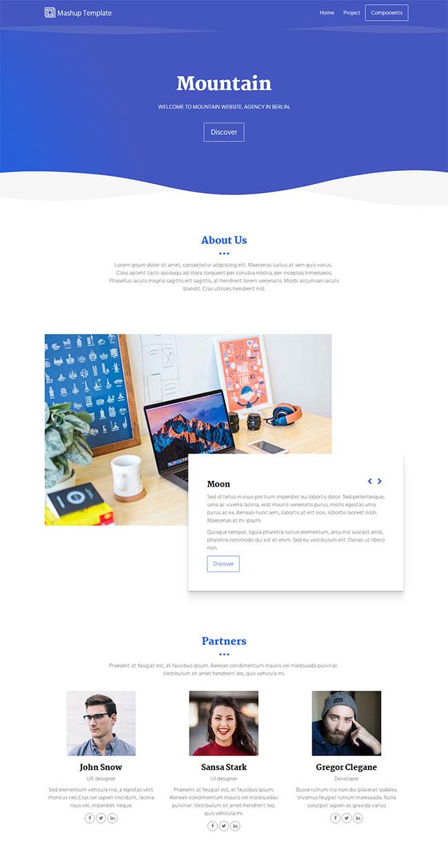 蓝色波浪效果CSS3网站模板