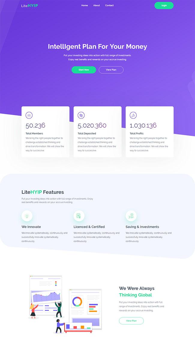 紫色投资公司网站HTML5模板