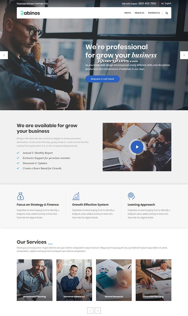 蓝色经典企业网站HTML模板