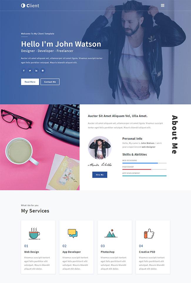 自由创作者个人主页HTML5模板
