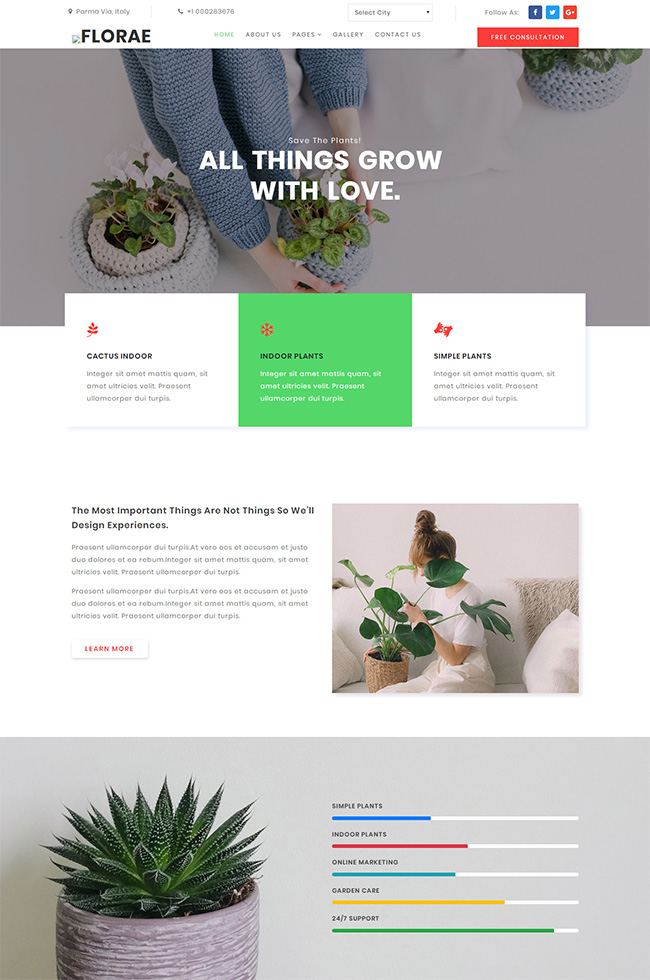 花草植物生长网站模板