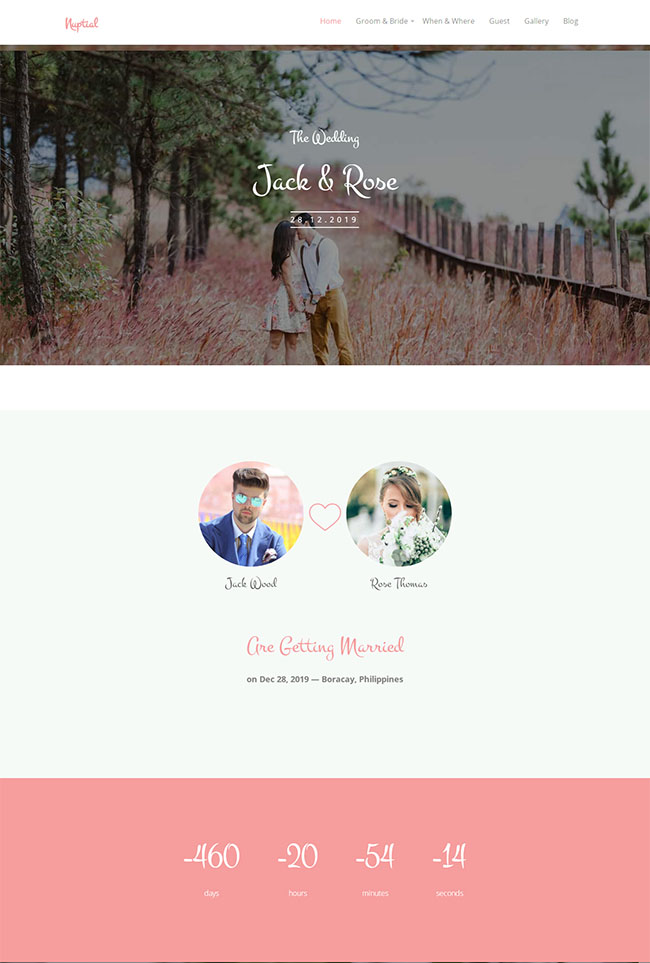 粉色婚庆婚礼展示网站模板