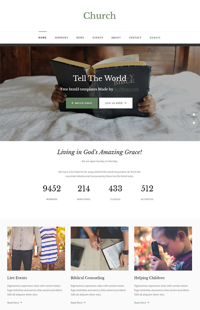 神圣教会教堂类网站模板