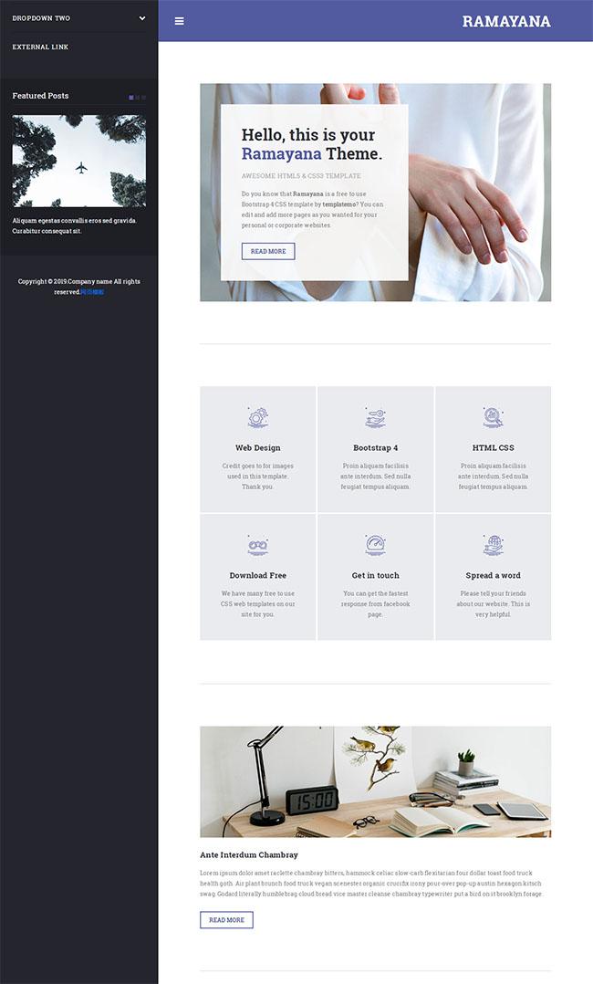 两列布局国外企业网站模板