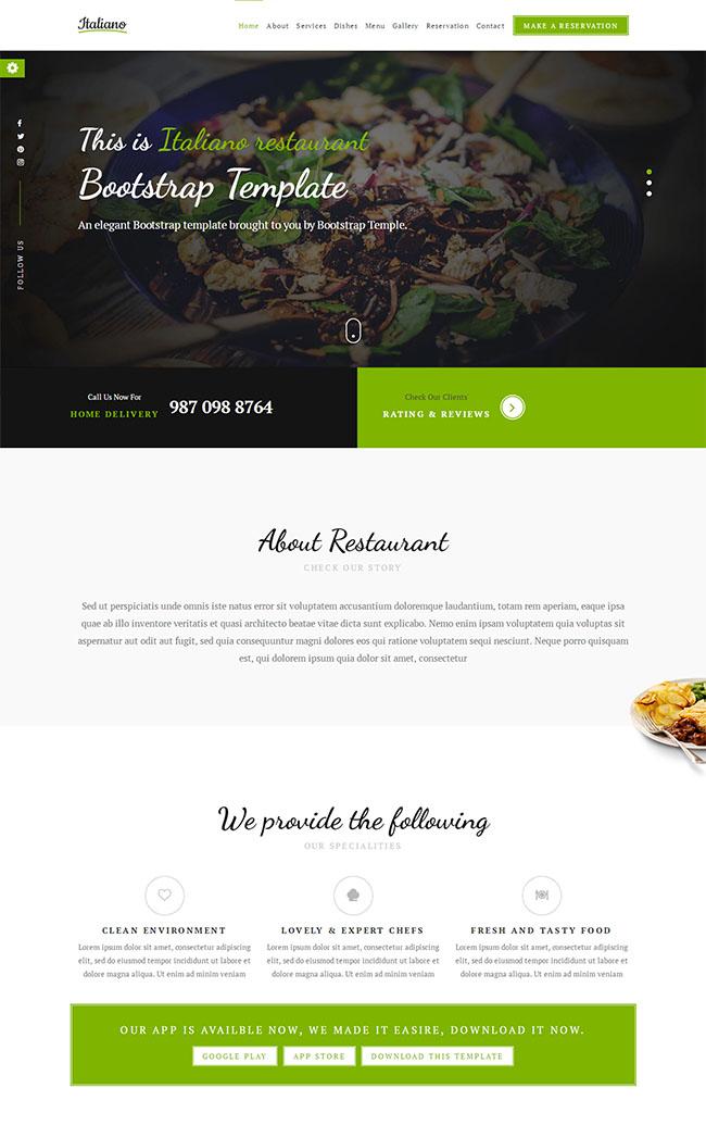 餐厅或咖啡馆网站模板