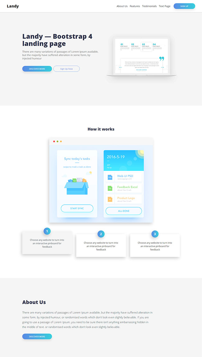 Bootstrap4登陆页网站模板