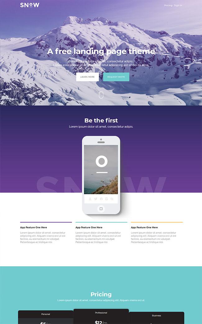 紫色冰山雪地网站模板