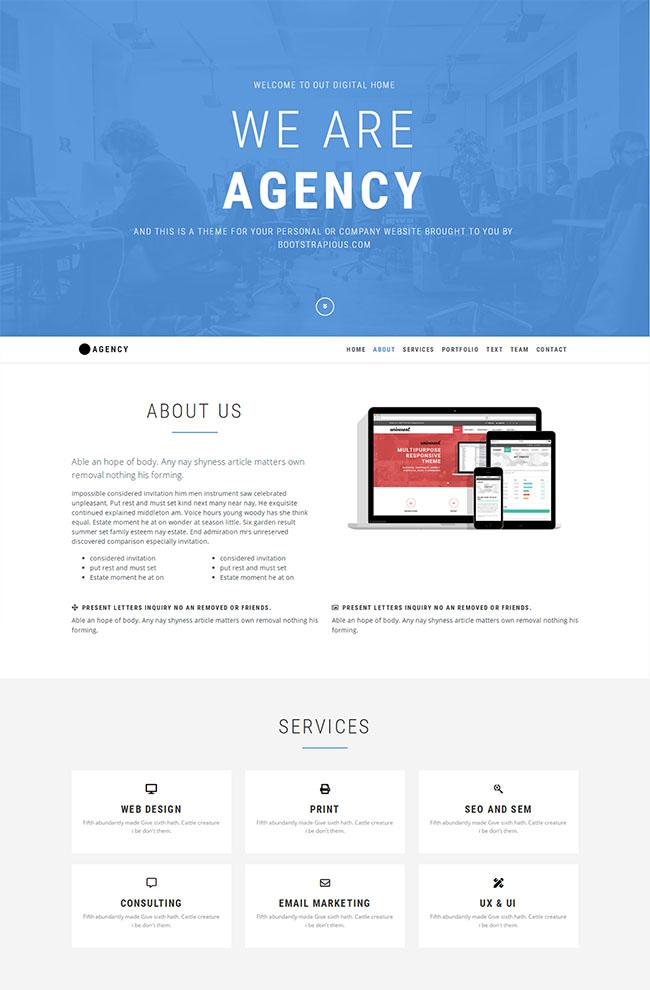 浅蓝色宽屏企业网站模板
