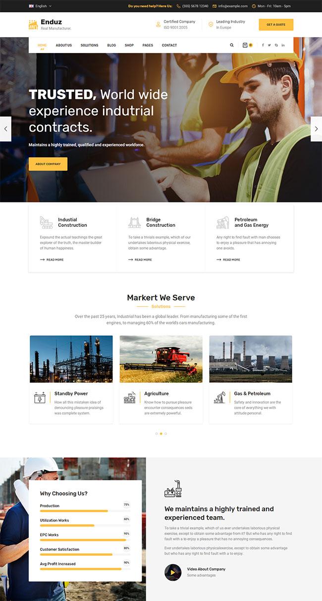 大气工厂工业业务网站模板