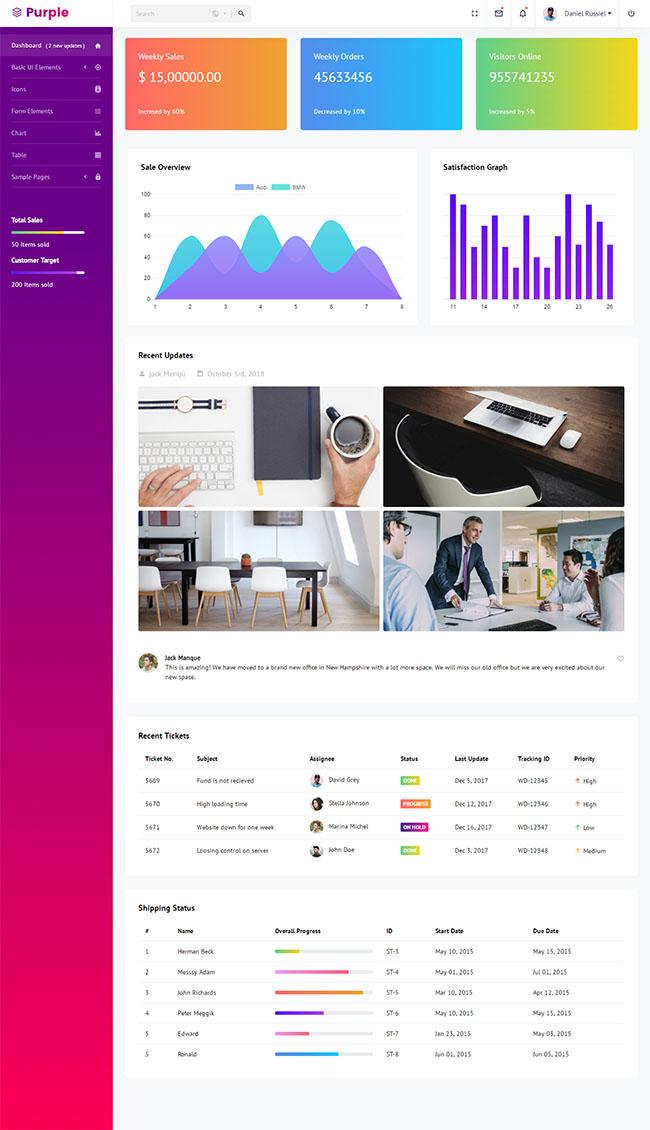 紫色大气Admin后台模板