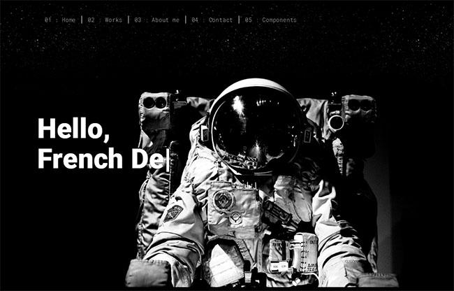 黑白设计个人主页HTML5模板