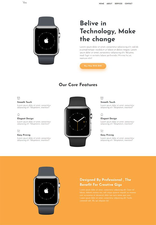智能穿戴手表Bootstrap4模板