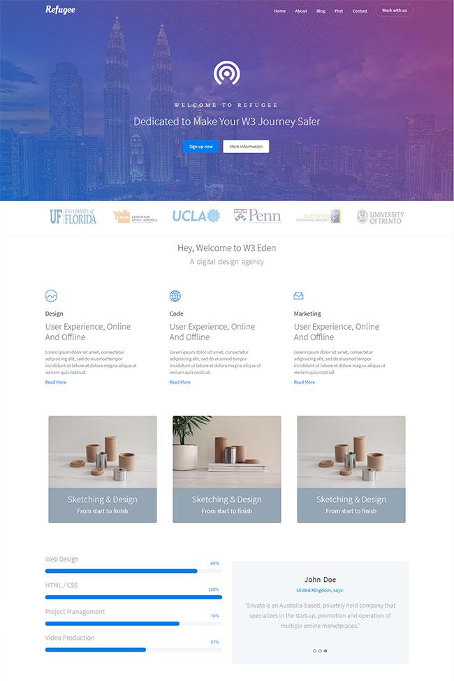紫色大气UI设计公司模板