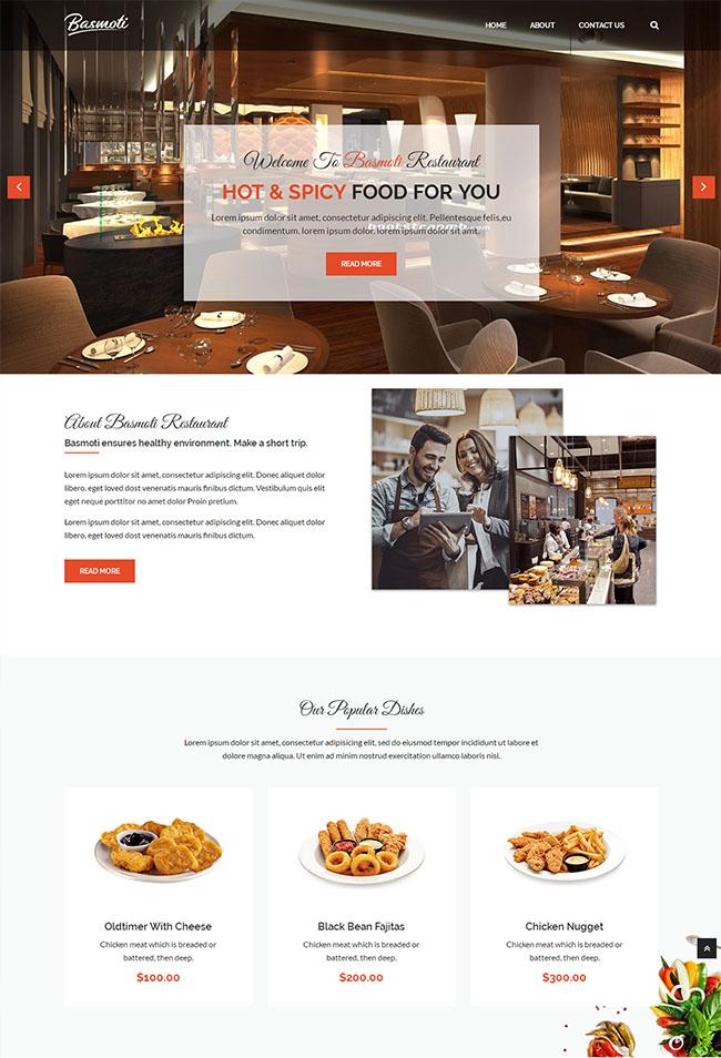 餐饮行业Bootstrap模板