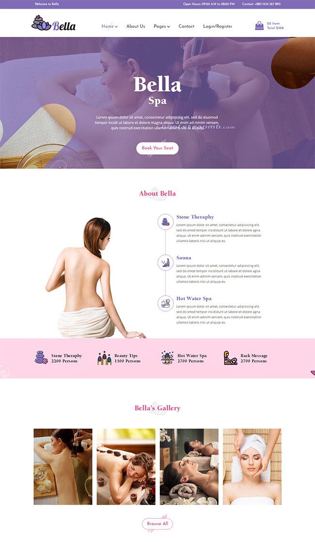 Spa养生馆电商网站模板
