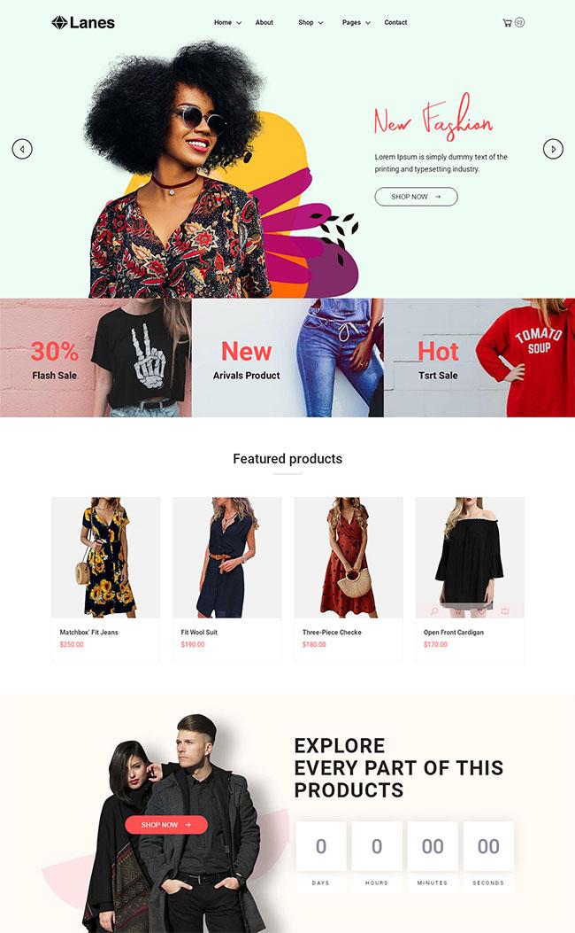 时尚女性服装商城网站模板