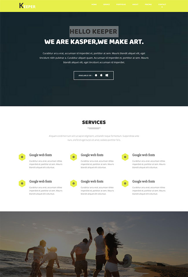 淡黄色艺术设计网站模板