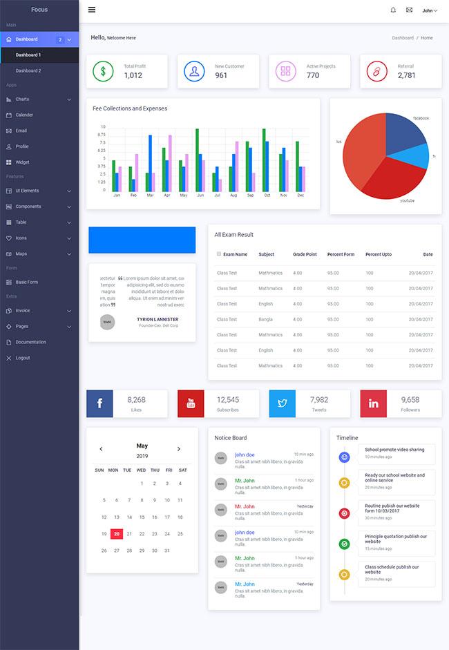 Focus Admin后台系统管理模板