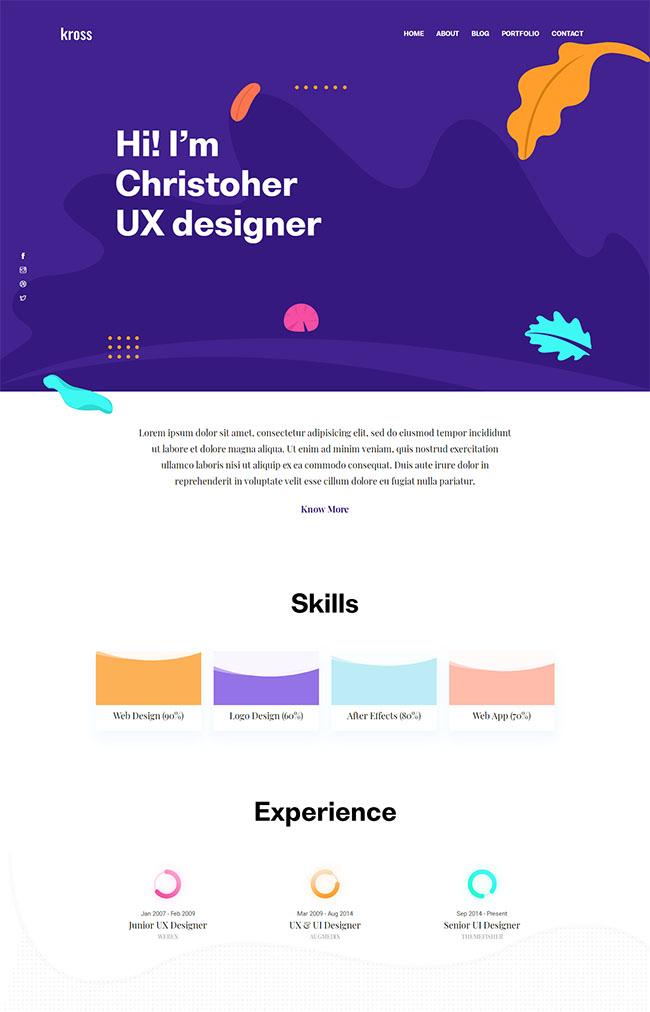 紫色漂亮设计企业官网模板