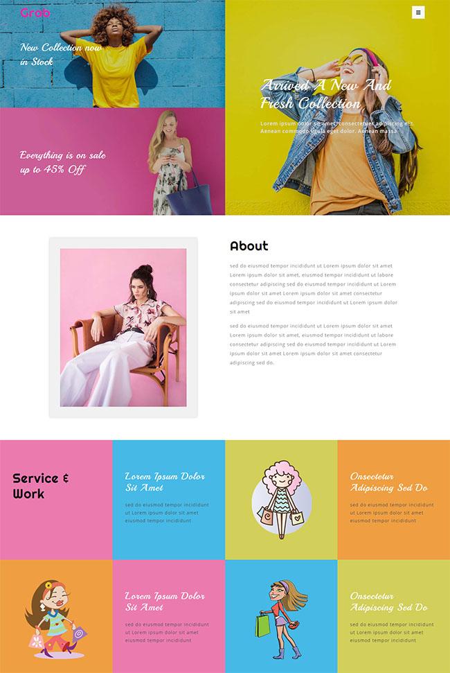 时尚服装展示网站模板