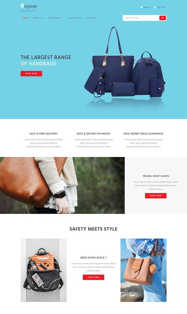 手提包背包奢侈品网站模板