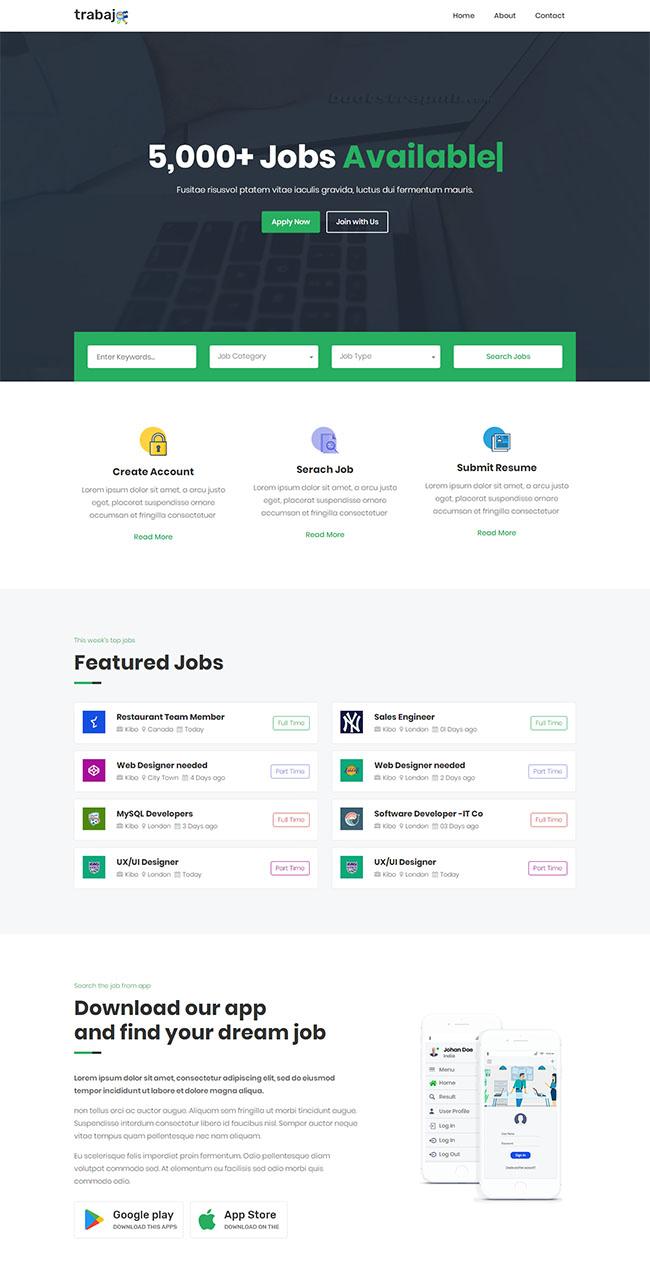 工作招聘门户网站响应式模板