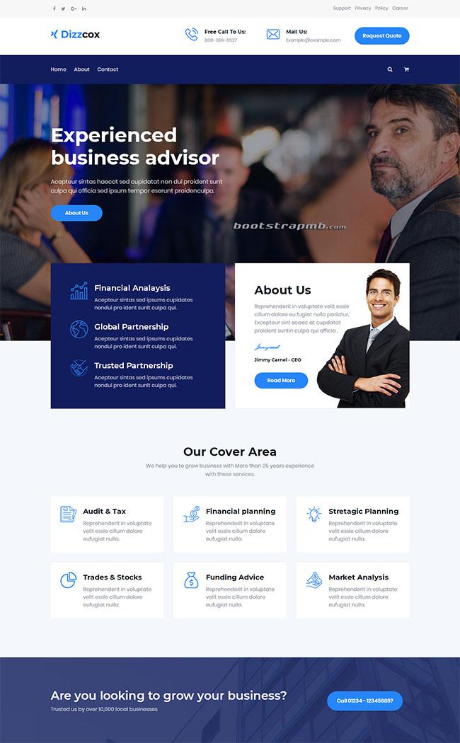 蓝色商业服务企业网站模板