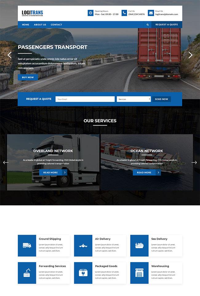 蓝色物流运输公司HTML5模板