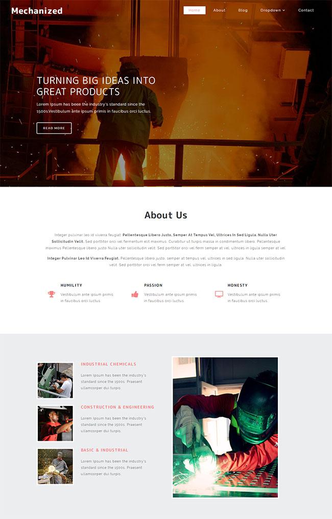 电焊钢铁行业网站模板