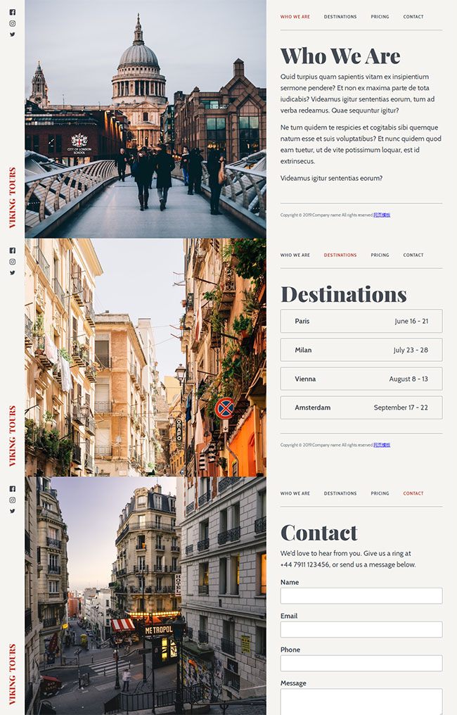 杂志排版设计旅游HTML模板