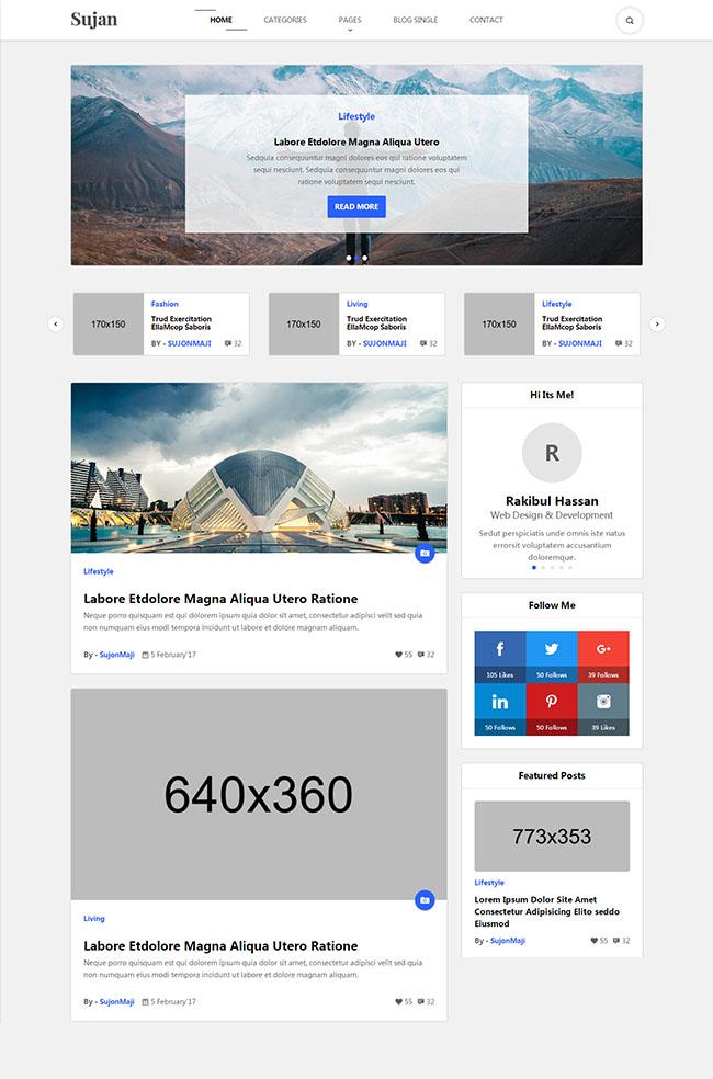 自媒体博客整站html5模板