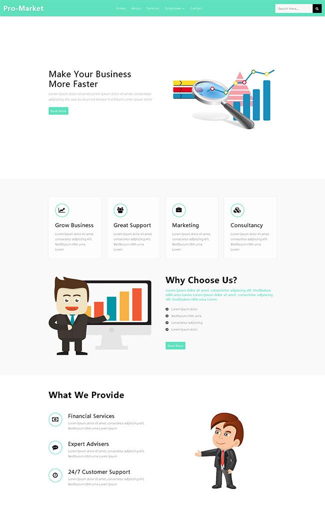白色简洁企业业务网站模板
