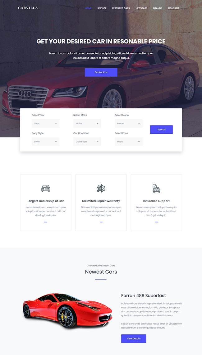 汽车经销商官网网站模板