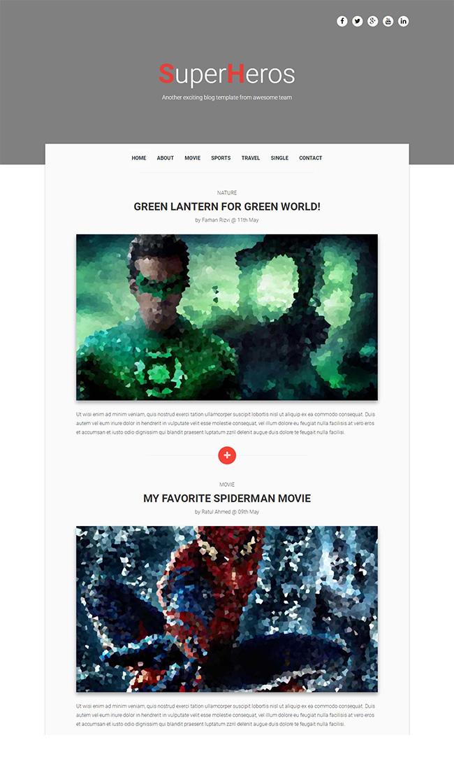 动漫超级英雄个人主页模板